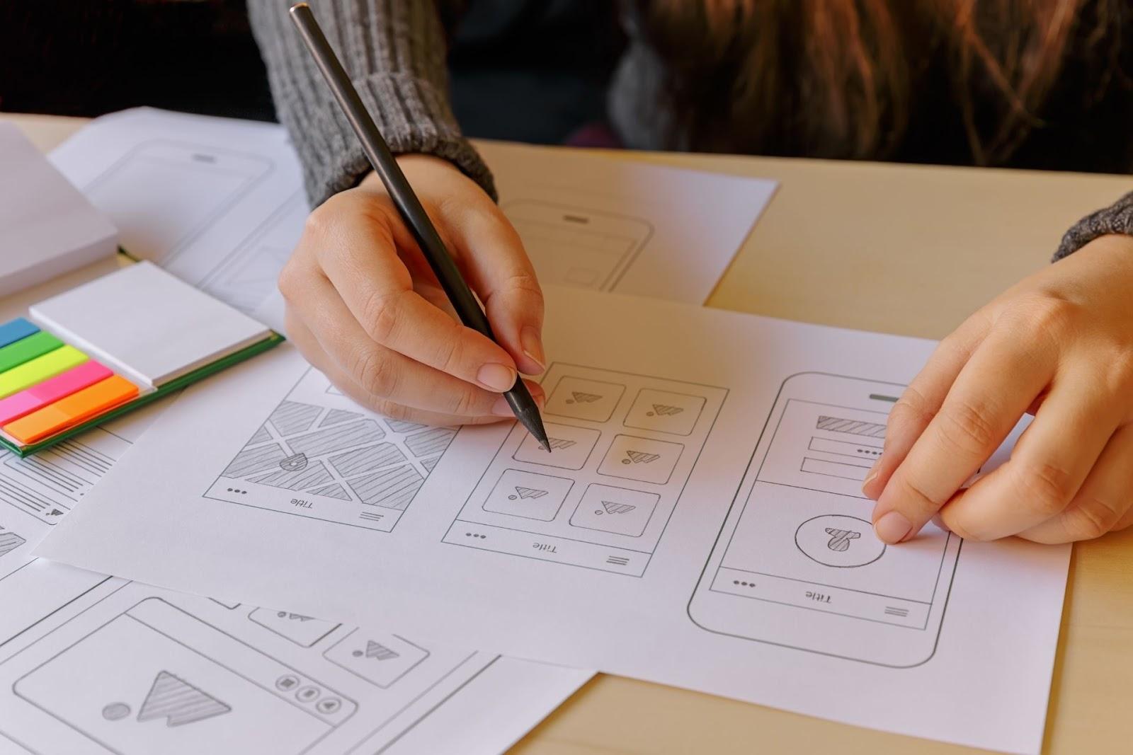 person designing mobile app