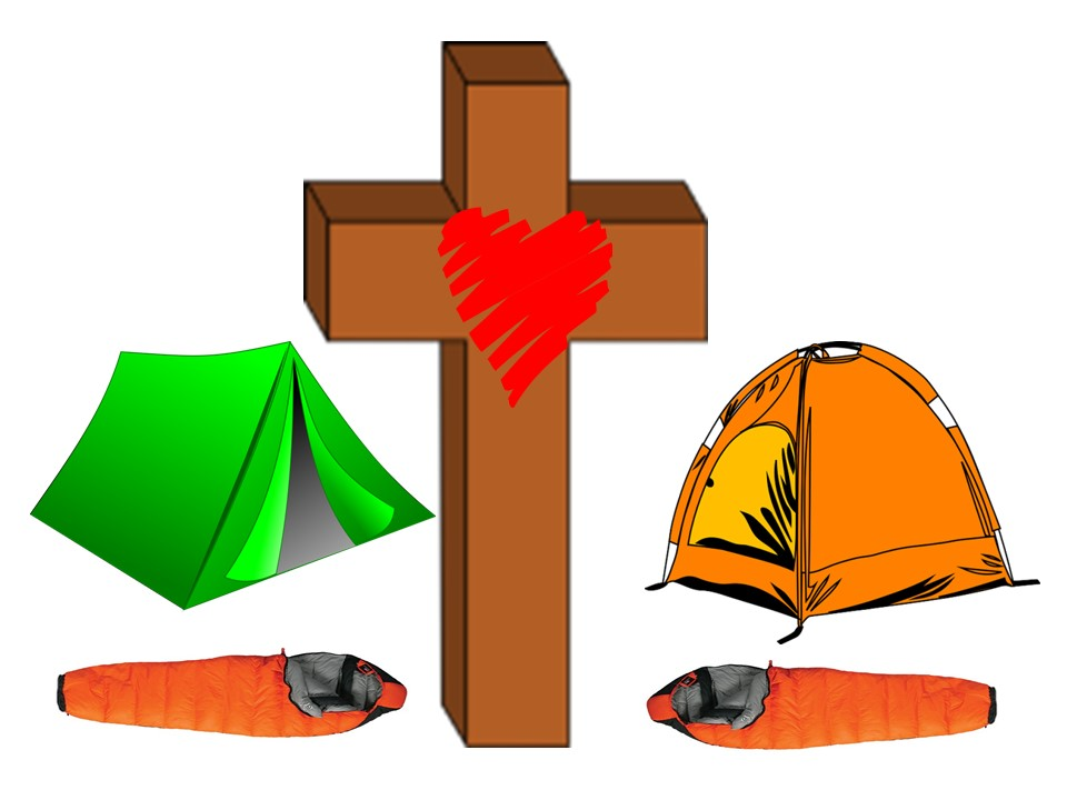 A cross in-front of two tents and sleeping bags.