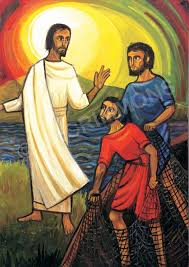 An icon depicting Jesus calling a disciple to follow Him.