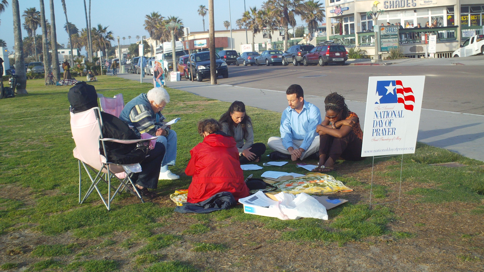 Group of Ocean Beach (California) citizens participating in a National Day of Prayer activity near the Beach coordinated through the local church partners.