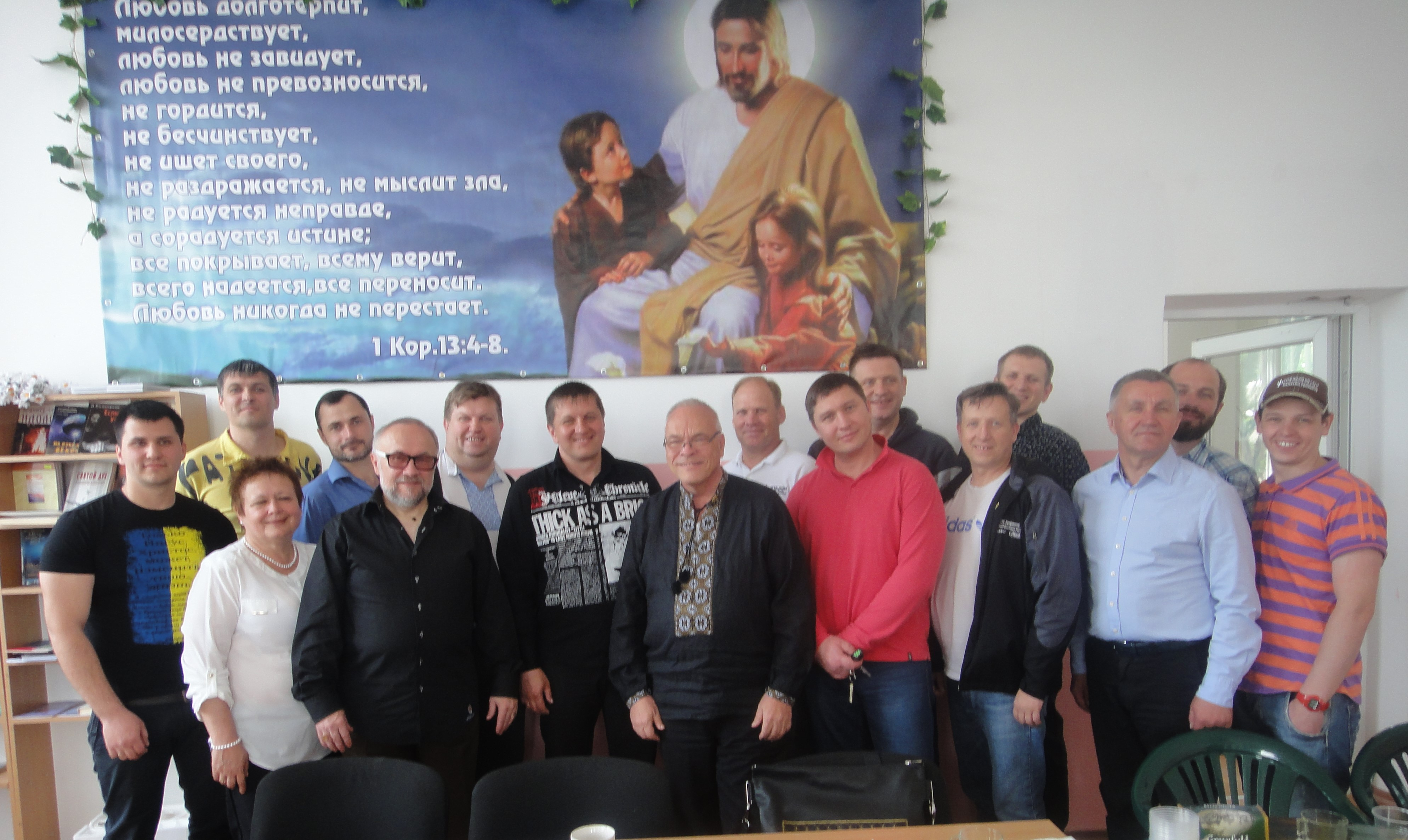 One of the weekly pastor meetings in Kamianske Ukraine. These meetings are a time of prayer and planning for mutual projects across their dozens of city churches.