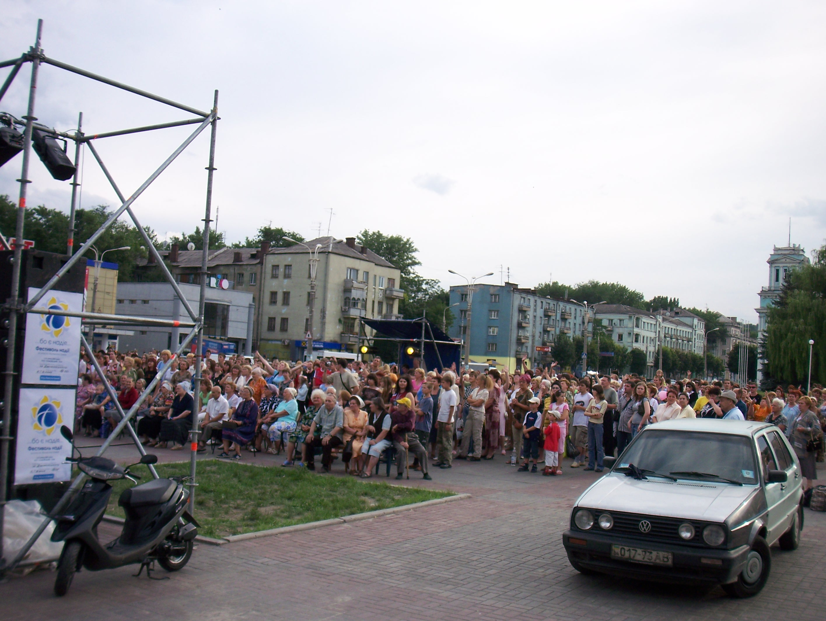 In 2007, we enabled and helped the Festival of Hope in Kiev to be broadcast by satellite to 104 other cities in Ukraine. This scene is from Dnieprodzerzhins'k.