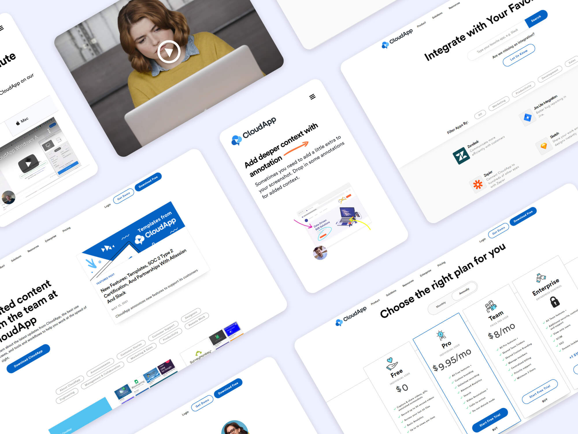 Collage showing CloudApp's marketing site and brand assets