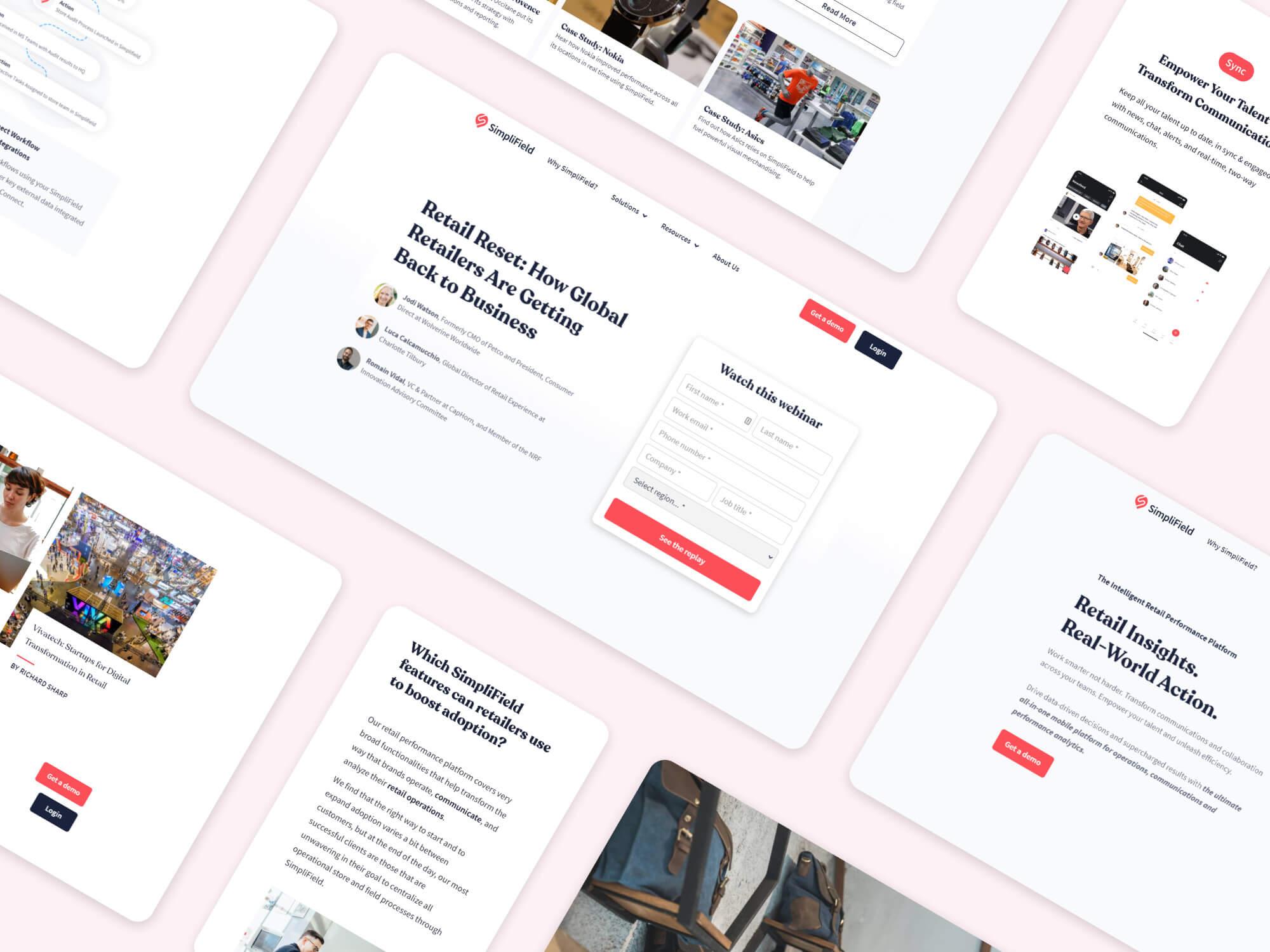 Simplifield.com portfolio collage