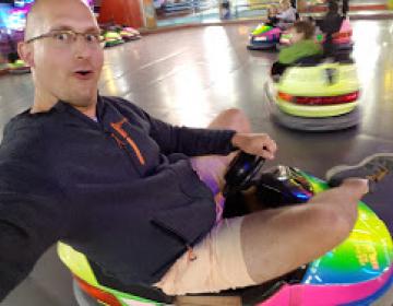Petr Simecek driving kid's car