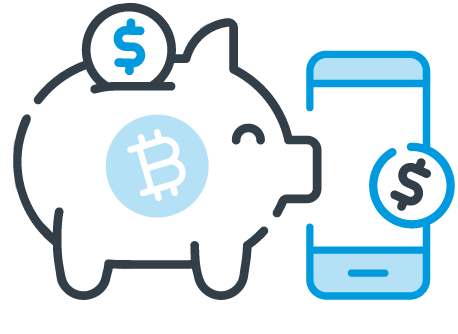Ícone depósito e saque de Bitcoin