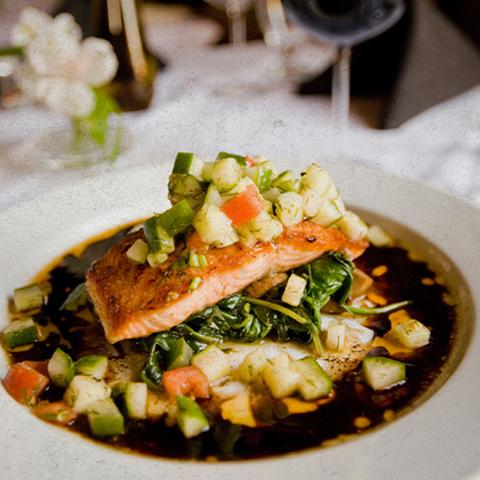 seared tuna on a white plate