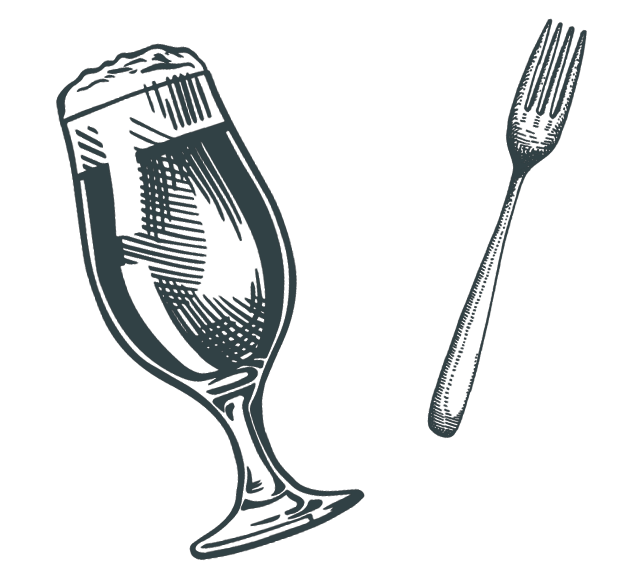 illustrated beer glass and fork