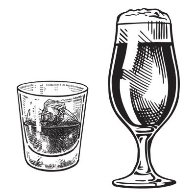 illustration of a shot glass and a pint of beer
