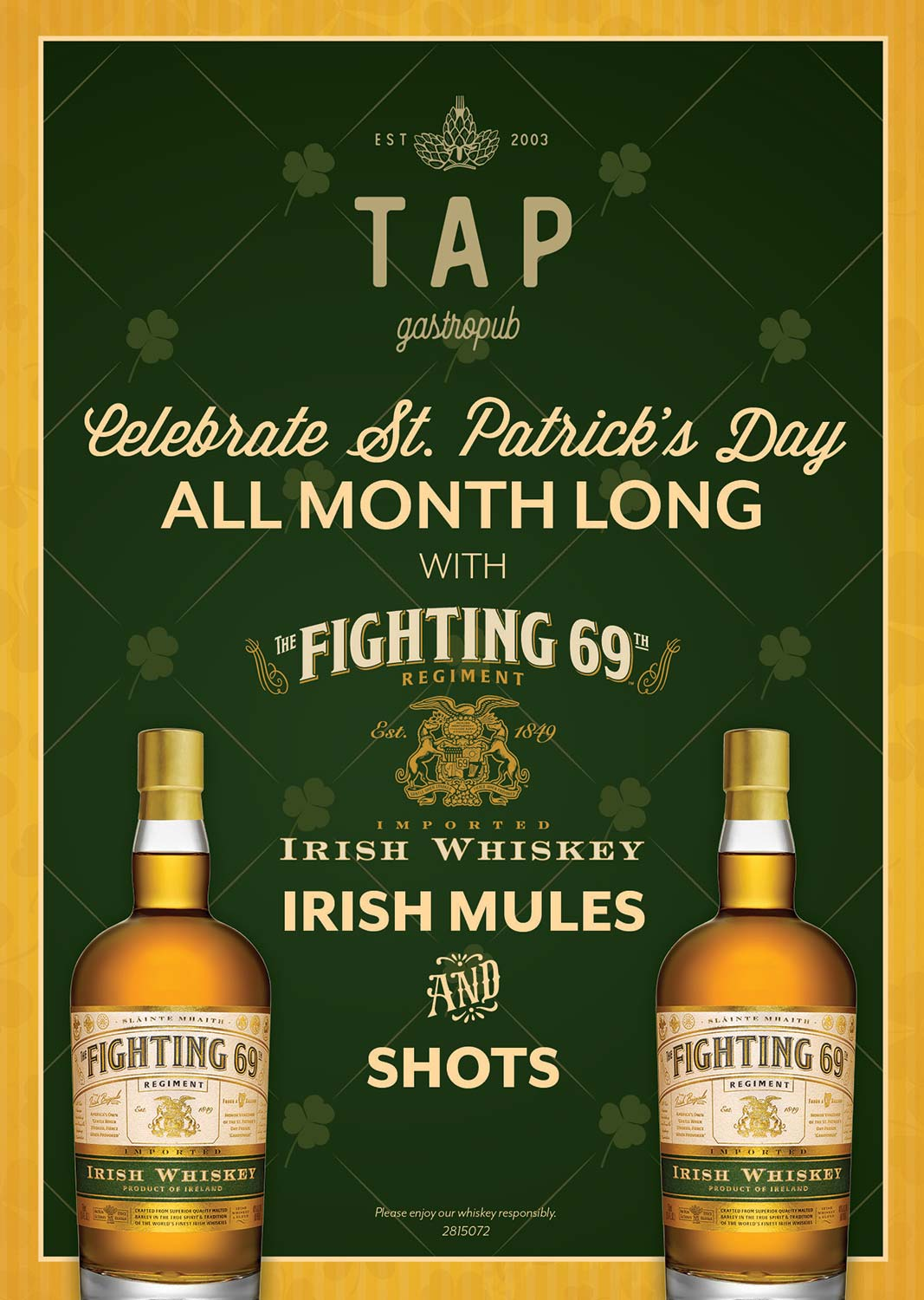 St. Patrick's Day flyer with Fighting 69 Whiskey