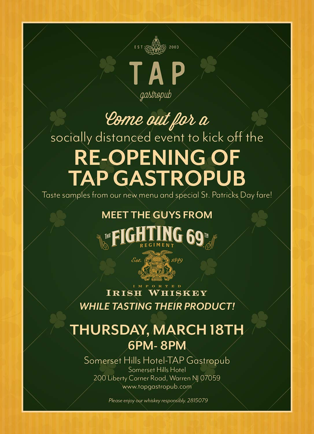 St. Patrick's Day flyer celebrating the re-opening of TAP Gastropub