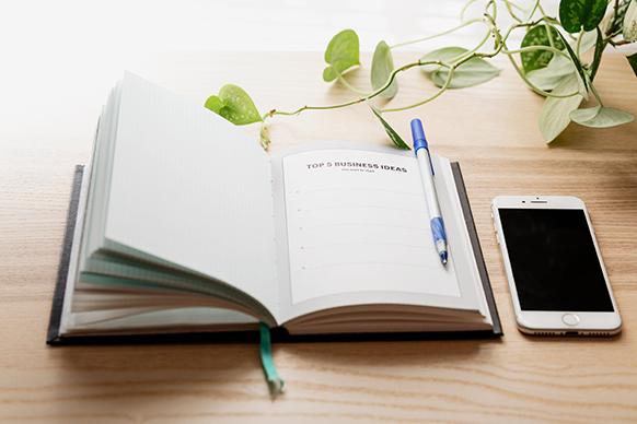 Open notebook on a desk