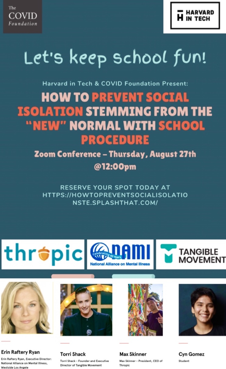 "Harvard in Tech presents - How to Prevent Social Isolation Stemming from the ""New"" Normal."