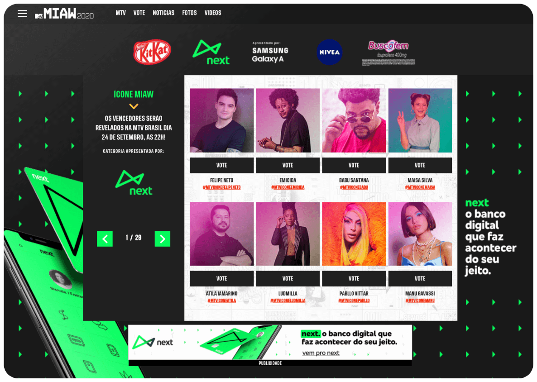 Voting on the MTV Millennial Awards app