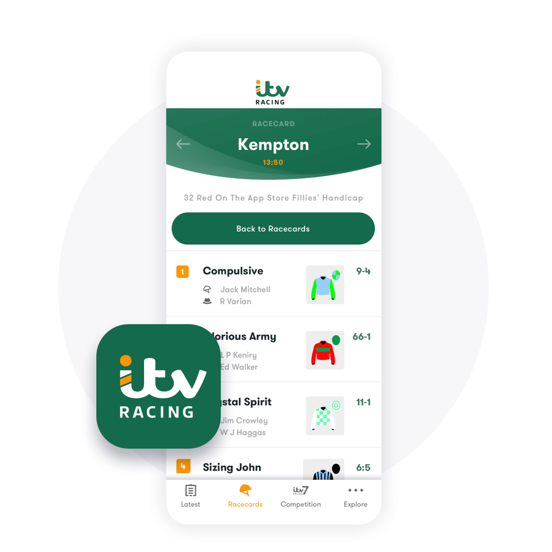 Racecard on ITV racing app