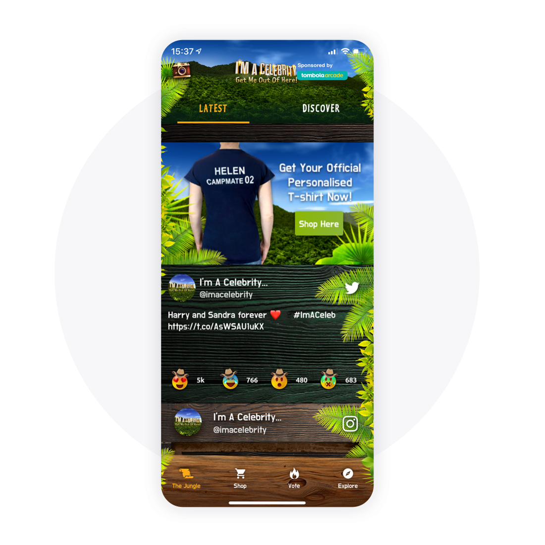 Shoppable items - Personalised campmate T-Shirts on the I'm a Celeb app