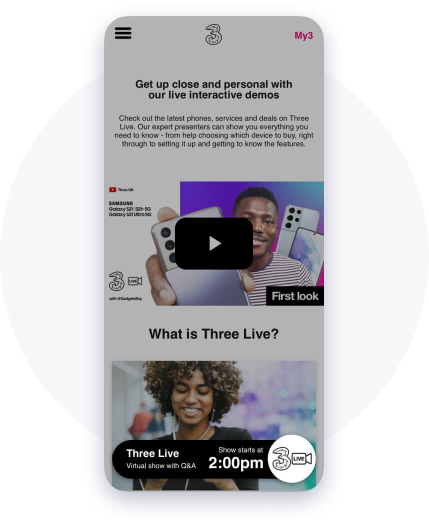 Example integration of livestream experience - live events on Three