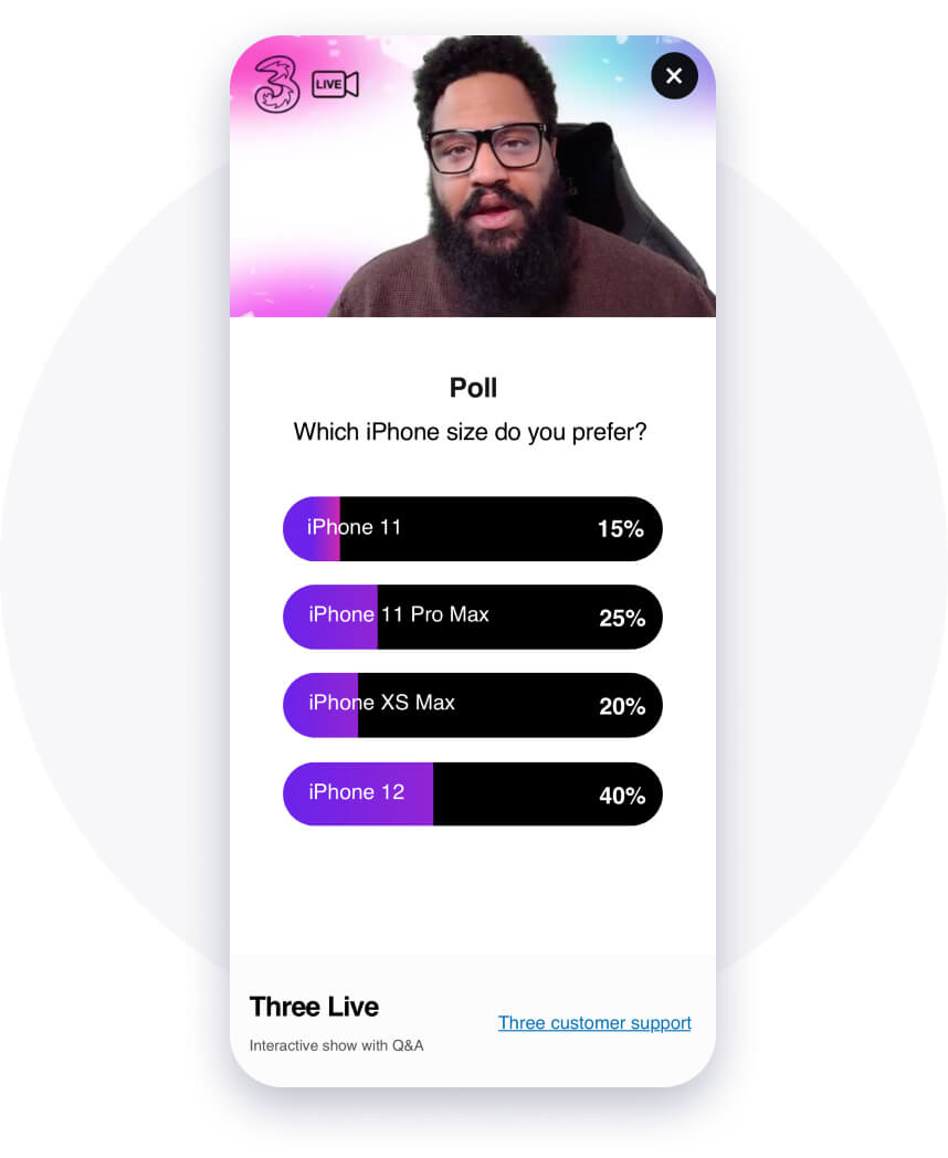 Customer poll in the Three app - which mobile size do you prefer?