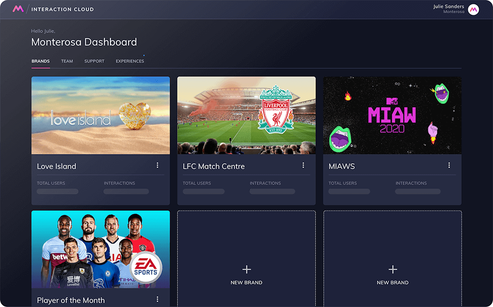 Interaction Cloud dashboard for Liverpool, EA Sports & Love Island apps