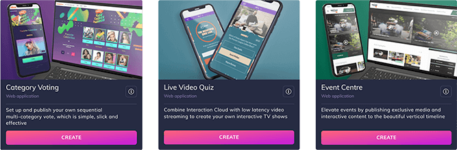 Example of ready-made experiences for voting, live video quiz and events