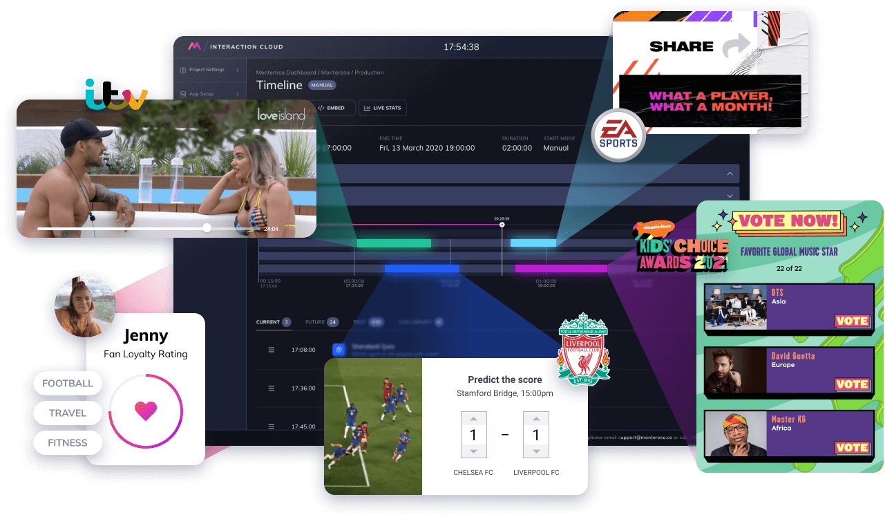 Montage of premium interactive experiences for ITV, EA Sports, Nickelodeon and Liverpool