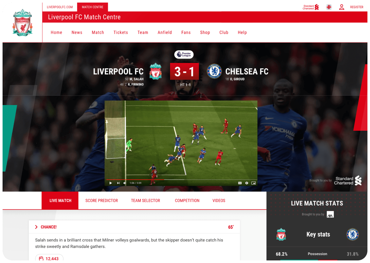 Liverpool FC app screen keeping fans updated throughout the match