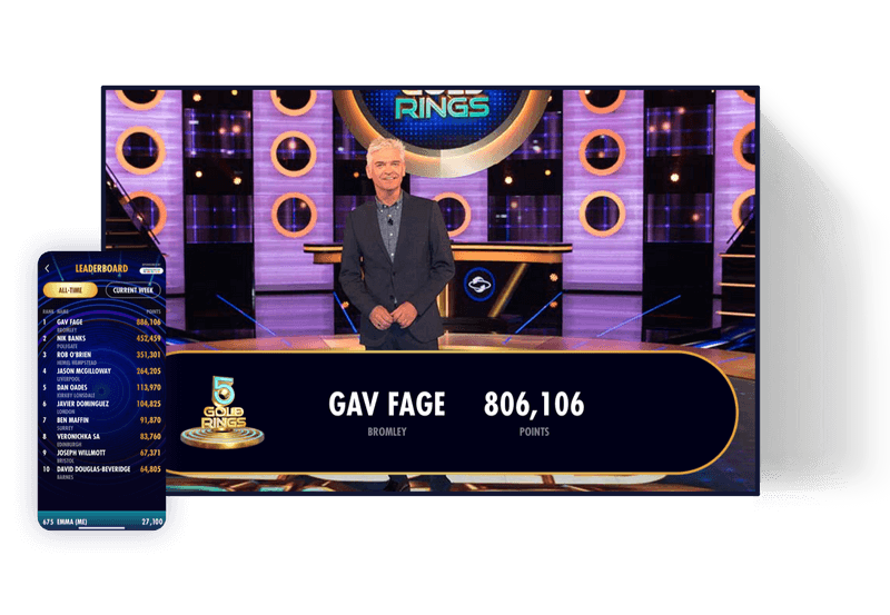 5 Gold Rings app screen showing mass participation gameshow