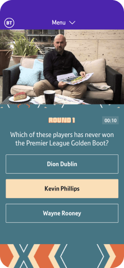 Sports fan engagement with an Interactive quiz on the BT Sport app