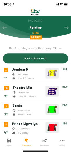 Horse Racing results on the ITV Racing app