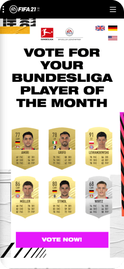 Player of the month voting on the FIFA app