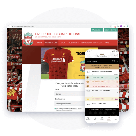 Liverpool FC app showing interactive competitions to increase fan engagement