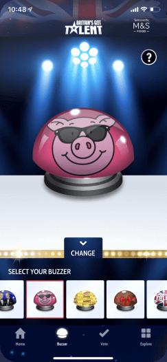 Britain's Got Talent app screen showing customisation options