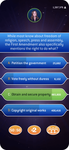 Example of real-time audience interaction - Who Wants to be a Millionaire play along app