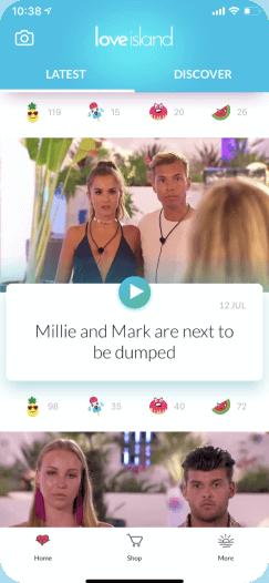 Love Island companion TV show app showing latest news
