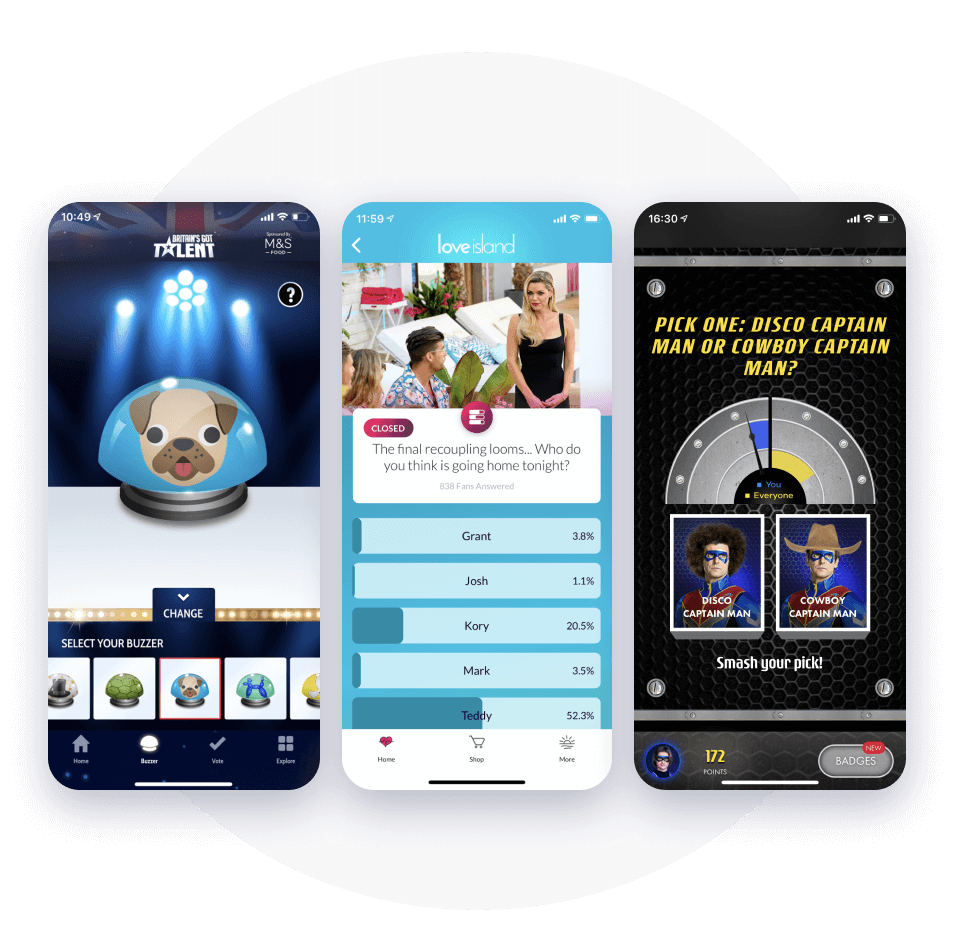 Mobile app screens showing real-time interactivity to engage fans and immerse audiences