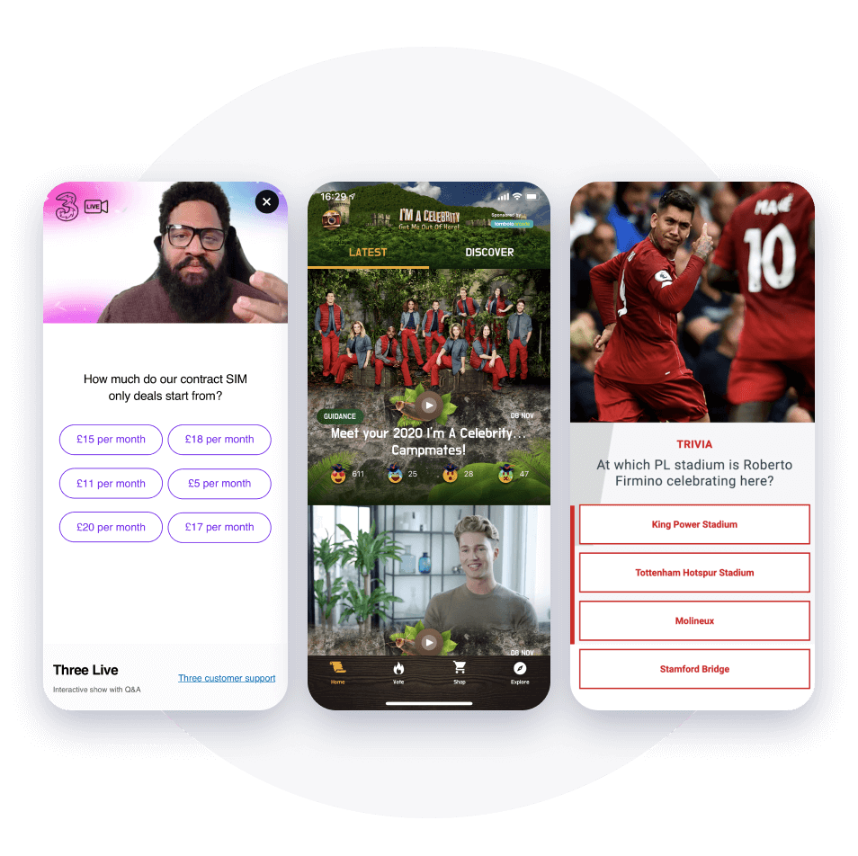 Cross-platform interaction examples - Three website, I'm a Celeb native app and Liverpool FC video
