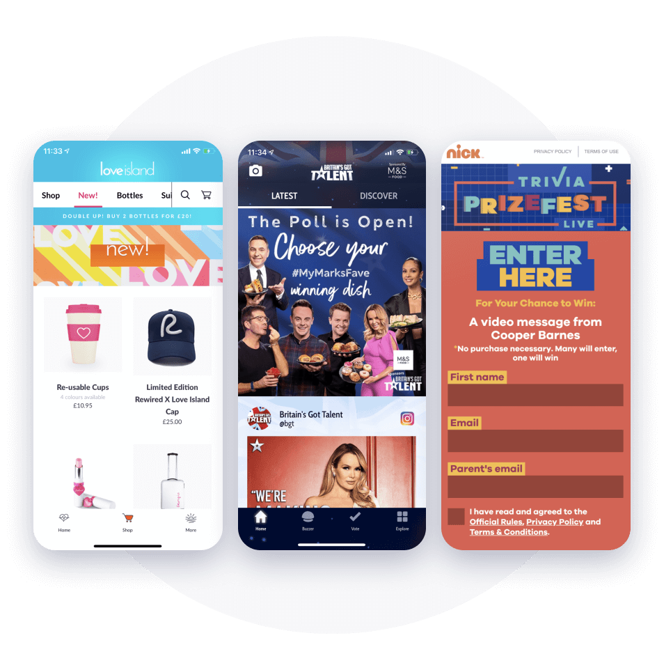 Love Island, BGT and Nick examples of ads, ecommerce and data capture to maximise revenue