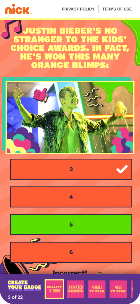 Nickelodeon voting app showing rich, rewarding voting experiences that engage users