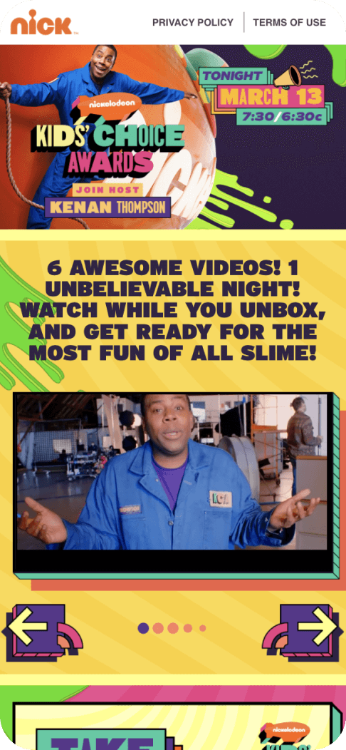 Nickelodeon Kid's Choice awards app voting to let viewers determine the outcome