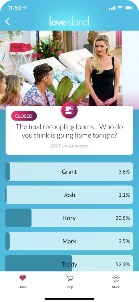 Voting on the Love Island companion tv show app