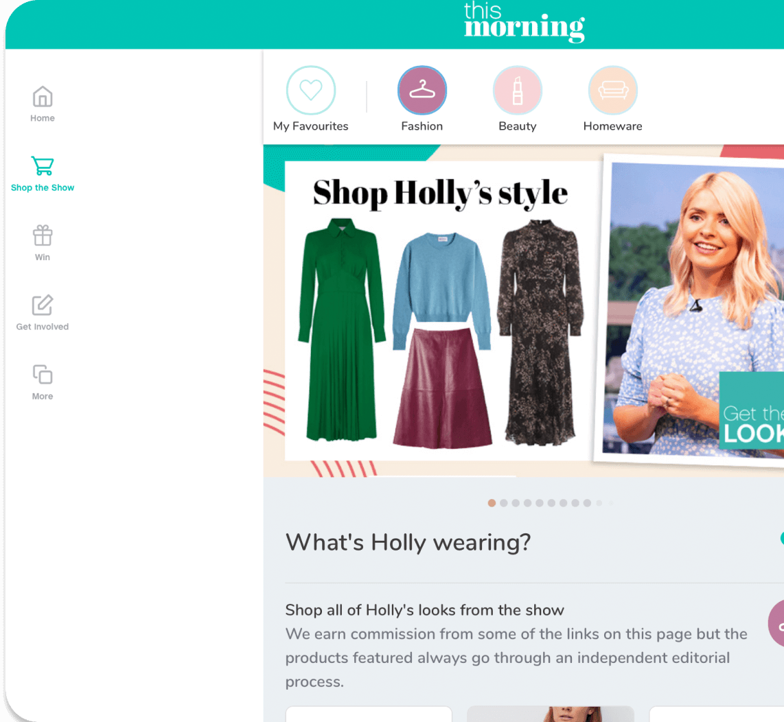 This Morning app showing shopping destination screen - Shop Holly's Style