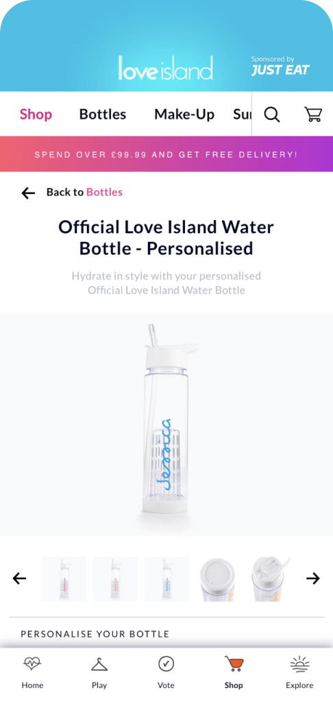 Love island app showing personalised products to turn fans into customers