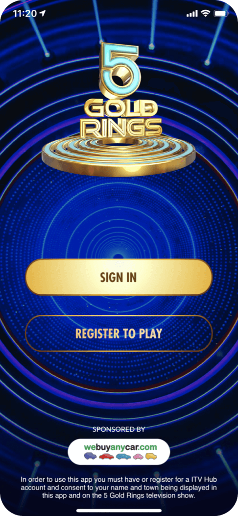 Audience interaction to drive sign-ups on the 5 Gold Rings app