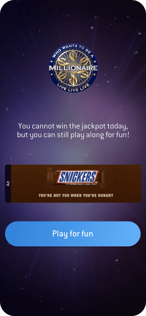 Example of extending sponsorships - Snickers ad on the Who Wants to be a Millionaire app