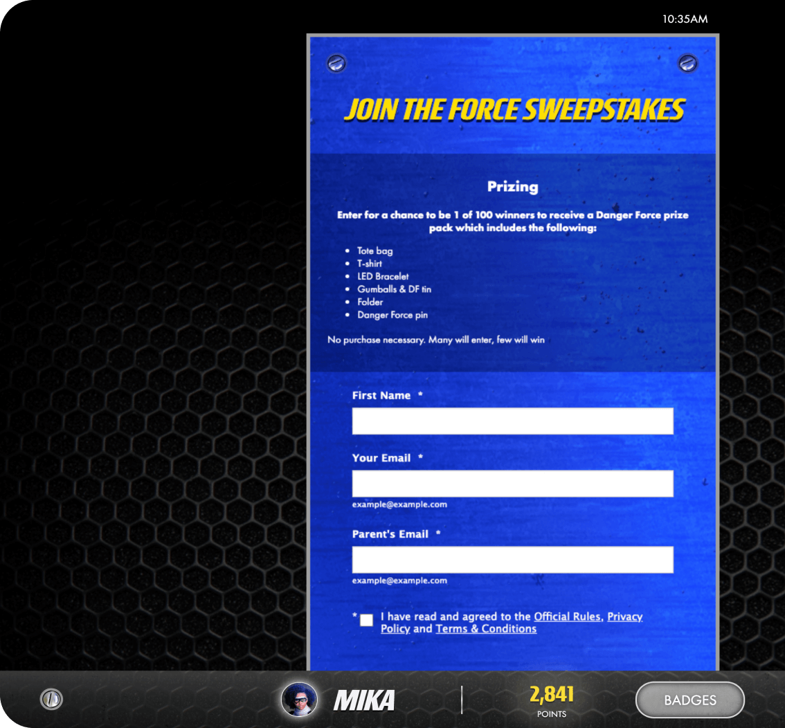 Example of prize mechanics to increase user sign-ups and collect first party data