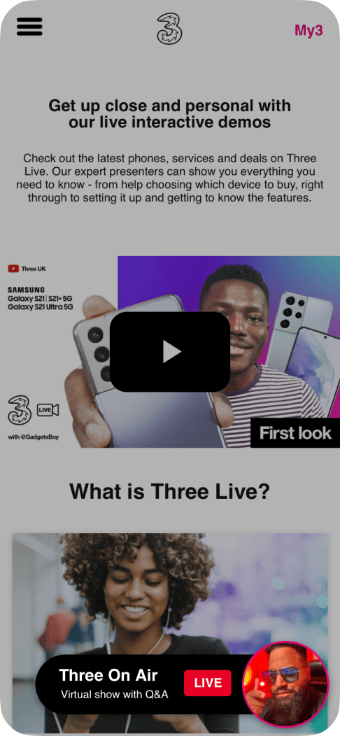 Drawing attention to live events on the Three app