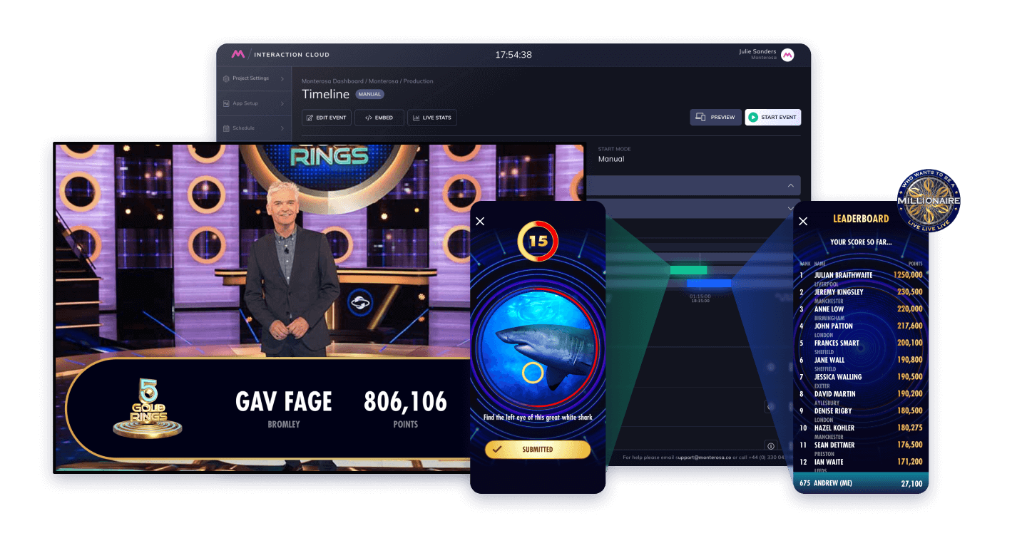 Example of real-time interaction with play along - Who Wants to be a Millionaire and 5 Gold Rings