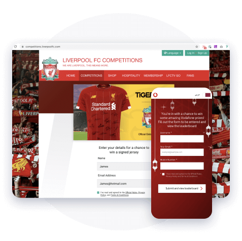 Competitions & Sweepstakes on the Liverpool FC app - win a signed jersey