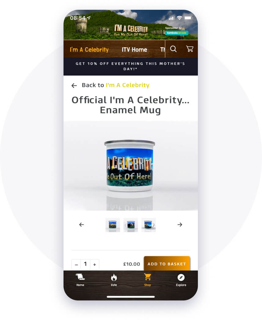 Turning fans into customers with eCommerce on the I'm a Celeb app