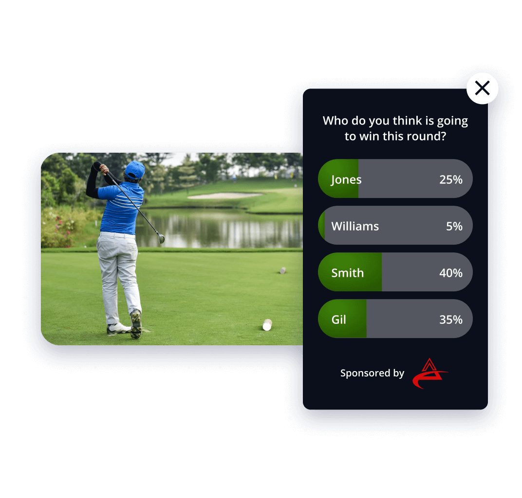App screen showing gamified play-along golf video - who is going to win this round?
